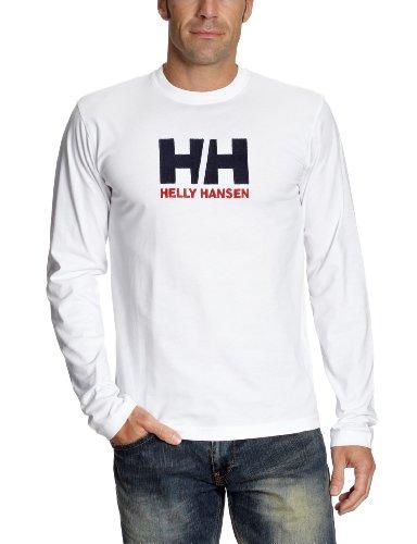Helly Hansen - Maglietta a maniche lunghe in cotone con logo, uomo, Bianco (bianco), small