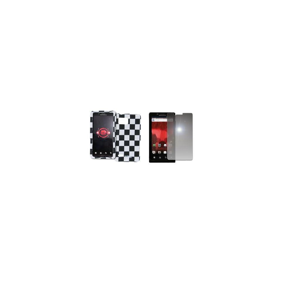 EMPIRE Black and White Checkers Design Hard Case Cover + Mirror Screen Protector for Verizon Motorola DROID Bionic XT875