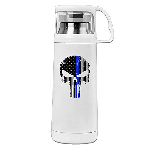 Beauty Thin Blue Line Skull Water Bottle With A Handle Vacuum Insulated Cup For Hot And Cold Drinks Coffee,Tea Travel Thermal Mug,14oz White (Butcher Coffee Cup compare prices)