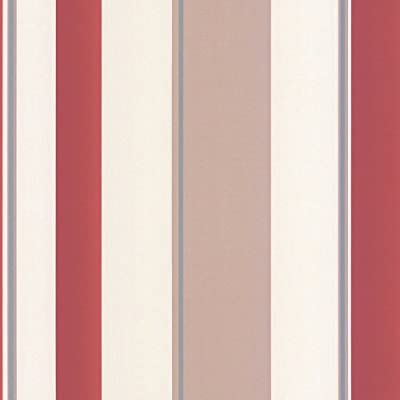 Red Taupe Cream Striped Wallpaper