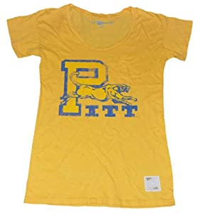 Pittsburgh Panthers Distant Replays Women Gold Blue Short Sleeve T-Shirt (M) by Distant Replays