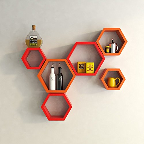 USHA Furniture Wall Shelf Rack Set Of 6 Hexagon Shape Storage Wall Shelves For Home - Red & Orange  available at amazon for Rs.1799