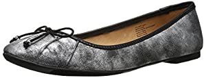 Seychelles Women's Standing In Line Ballet Flat,Silver Distressed/Black,9.5 M US