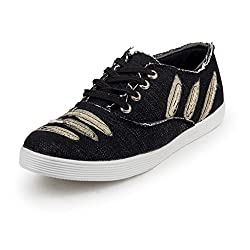 PAN Mens G05 Black Fabric Casual Shoe-6 UK