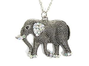 Crystal Elephant Necklace Safari Silver Tone Tribal NB25 Africa Pendant Fashion Jewelry