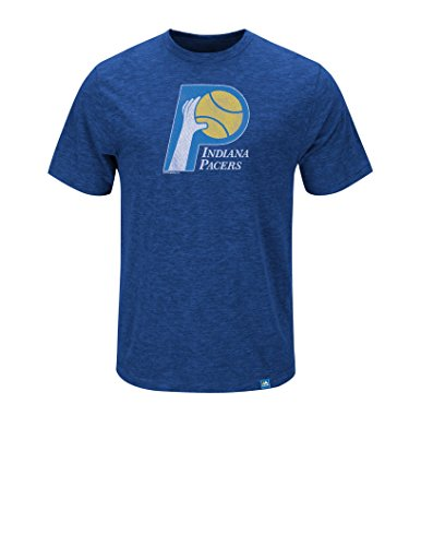 NBA Indiana Pacers Men's Pacers Hours & Hours Short Sleeve Basic Crew Neck Tee 1967-90, Medium, Hyper Blue Pepper Slub (Vintage Nba Shirts compare prices)