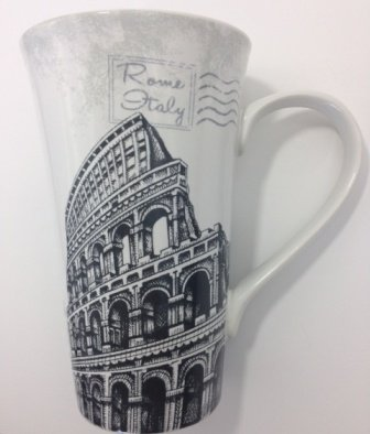 Postcard From Rome Italy Tall Latte Fine Quality Porcelaine Mug