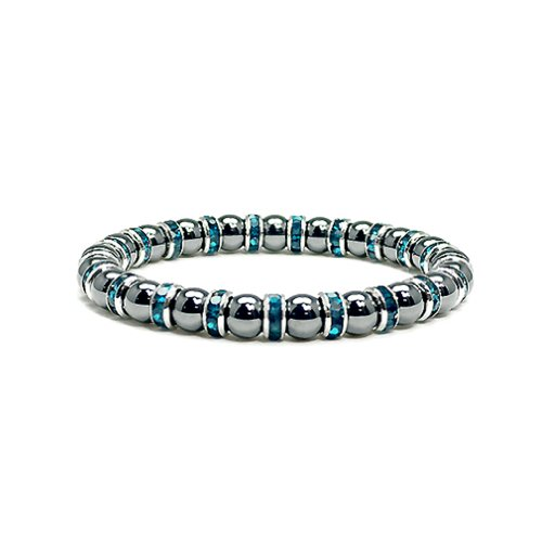 Women's Magnetic Hematite Tuchi Pearl Bracelet with Blue Topaz Crystal, 7.5″