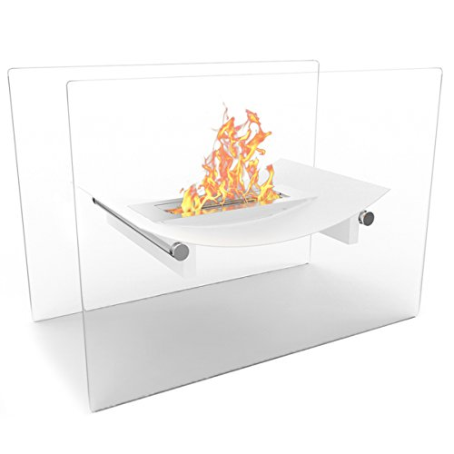Elite Sweetheart Bow Free Standing Indoor Outdoor Bio Ethanol Fireplace White