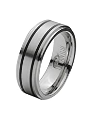 Inox Jewelry Silver Titanium & Black Double Rubber Stripe Band For Women