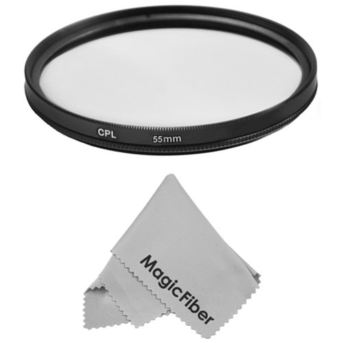 55Mm Circular Polarizer Cpl Filter For Sony Alpha Series A99 A77 A58 A57 A65 A55 A390 A100 Dslr Cameras With A 18-55Mm Zoom Lens + Magicfiber Microfiber Lens Cleaning Cloth