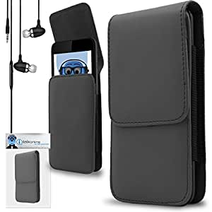 iTALKonline Dell Venue Grey PREMIUM PU Leather Vertical Executive Side Pouch Case Cover Holster with Belt Loop Clip and Magnetic Closure Includes Grey Premium 3.5mm Aluminium High Quality In Ear Stereo Wired Headset Hands Free Headphones with Built in Mic Microphone and On Off Button