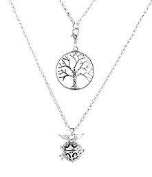 Cos2be Aromatherapy Pendant/Locket Essential Oil Diffuser Necklace, Double Pendant Necklace (Tree of Life)