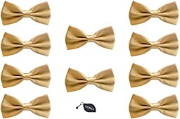Udres Men Formal Tuxedo 10 Pack Solid Color Satin Bow Tie Classic Pre-Tied Bowtie (One Size, Khaki)