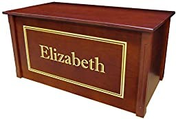 Wood Toy Box, Large Cherry Toy Chest, Personalized Shadow Font, Custom Options (Cedar Base - Gold Lettering)
