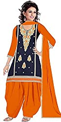The Great indian sale's Women's New Fashion Designer Fancy Wear Todays Low Price Best Special Offer All Type Modern Dark Blue Colored Embroidered Patiyala Salwar Suit