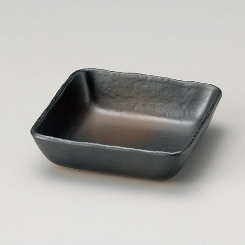3 pieces set small rectangle bizen style cut standing 14 cm Bowl 140 x 140 x 37 mm-Japan made pottery ceramic for private dining