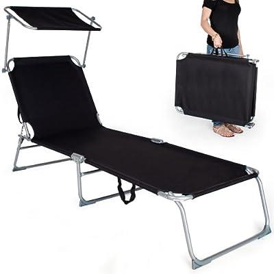 TecTake® Gartenliege Sonnenliege Strandliege Freizeitliege mit Sonnendach 190cm schwarz von TecTake auf Gartenmöbel von Du und Dein Garten
