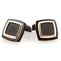 Textured Copper Tone & Hematite Stainless Steel Cufflinks