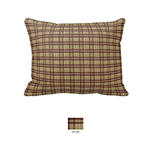 Patch Magic Tan and Red Plaid Fabric Pillow Sham, 27-Inch by 21-Inch