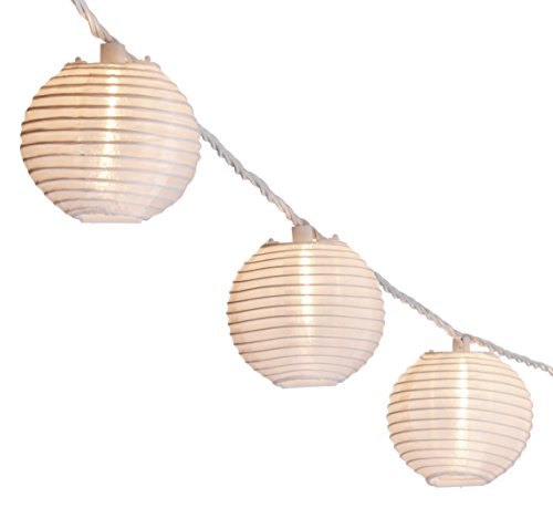 Oriental Lantern Outdoor Indoor String Lights 11 Feet Length 10 Lights (White) (Outdoor Lantern Lights)