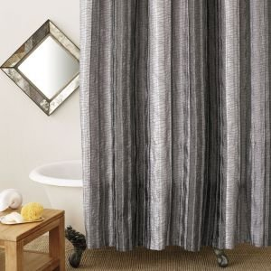Sierra Onyx Shower Curtain Black Grey Silver Vertical Stripes By Manor Hill