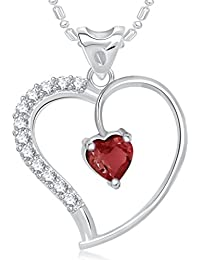VK Jewels Red Stone In Heart Valentine Rhodium Plated Alloy Pendant With Chain For Women & Girls Made With Cubic...