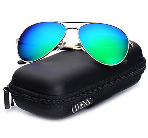 94b0a8feb7 LUENX Aviator Sunglasses Polarized for Men   Women with Case 400 UV  Mirrored 58mm