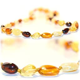 The Art of Cure Baltic Amber Teething Necklace - FTIR Lab Tested Authentic Amber (Multi Color Beans)