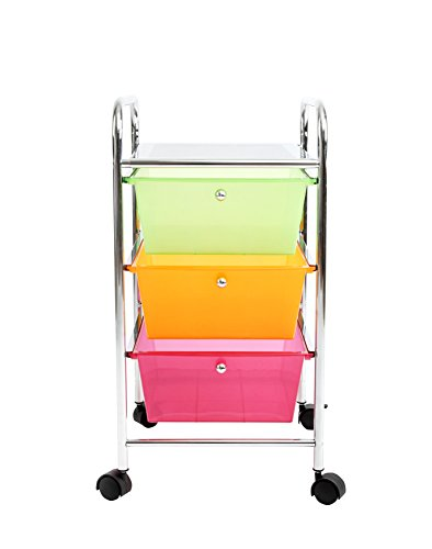 Finnhomy 3-Drawer Plastic Portable Mobile Organizer Rainbow, Utility Rolling Storage Cart for Home, Office, Beauty Salon and more,Bright Chrome Metal Frame and Semi-transparent Mutli Color (24 Deep File Cabinet compare prices)