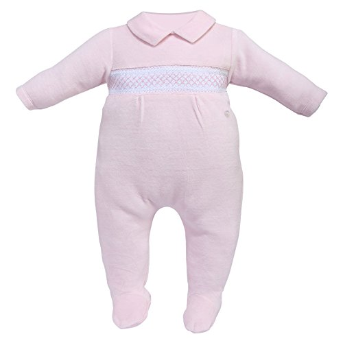 Cream Bebe Newborn Baby Smocked Footed Romper, One-piece Footie (3-6 Months, Pink)