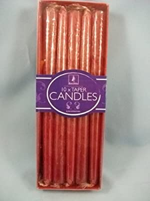 Box Of 10 Red 25cm Tall Taper Dinner Candles 152470 by PMS