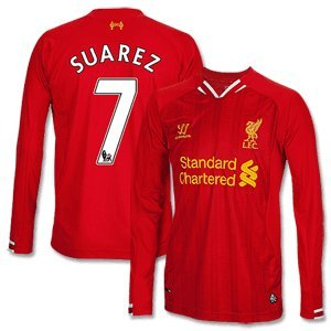 Liverpool Home L/S Shirt 2013 2014 + Suarez 7-XL from Warrior
