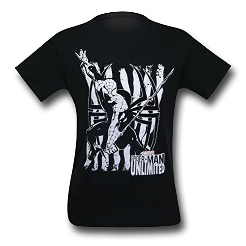 Spiderman in Black & White Kids T-Shirt- Youth Large