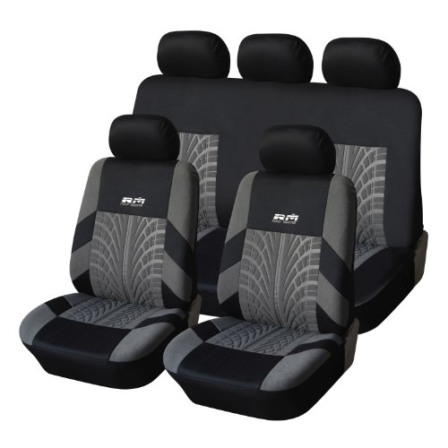 2015 NEW MATERIAL and DESIGN! Adeco [CV0225] 9-Piece Car Vehicle Seat Covers, Universal Fit, Black/Gray Tire Track Decoration (Seat Track compare prices)