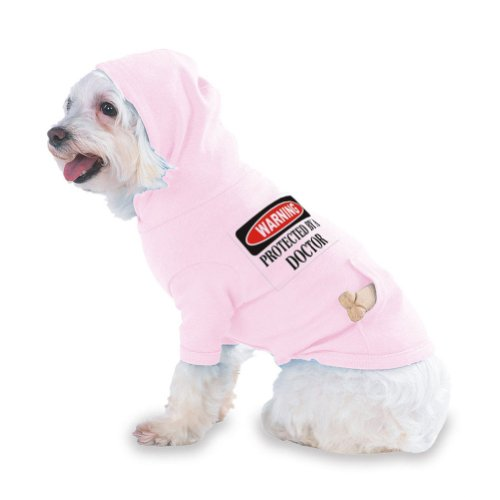 Warning Protected By A Doctor Hooded (Hoody) T-Shirt With Pocket For Your Dog Or Cat Medium Lt Pink