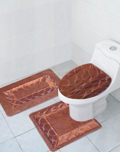 Lastest 3Pc Bath Rug Set Contour MatToilet Lid CoverToilet Seat Cover Pads