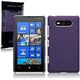 Nokia Lumia 820 Hybrid Rubberised Back Cover / Case / Shell / Shield - Solid Purple