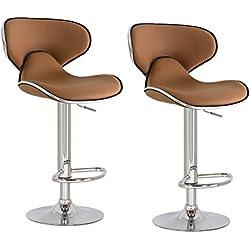 Joveco 360 Degree Swivel Adjustable Saddleback Design Bar Stool - Set of 2 (Light brown)