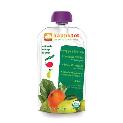 Happy Baby HappyTot Organic Superfoods Spinach Mango and Pear 4 22 oz Case of 16
