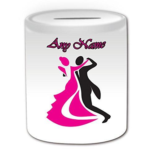 Personalised Gift-Outline Foxtrot, Design Rebecca Hose, motivo Waltz-Salvadanaio, motivo: Dance, colore: bianco, con nome e messaggio sul tuo unico con gonna da ballerina di Tango