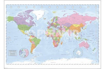 41u5yCgcHDL Compare Large World Map Political World Map, c.2009 (miller projection) Finest LAMINATED Print Unknown 55x39