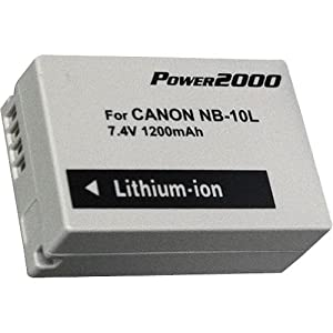 Power2000 1200Mah Lithium Battery Replacement For Canon NB-10L Battery (For Canon SX40 HS Camera)