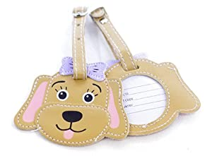 Childrens Dog Luggage Tag - Brown