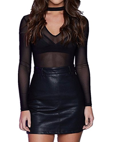 StyleDome Donna Camicetta Sexy Maglietta Trasparente T-shirt Maglia Blusa Manica Lunga Collo V Nero IT 40-42