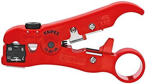 Knipex 16 60 06 SB Spelacavi per Cavi Coassiali, 125 mm, Rosso