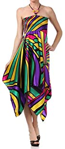 Multi-colored Striped Design Satin Feel Beaded Halter Smocked Bodice Handkerchief Hem Dress