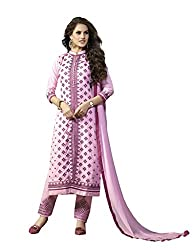 Suchi Fashion Light Pink Embroidered Cotton Dress Material