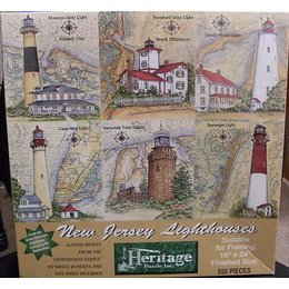New Jersey Lighthouses 550 Piece Puzzle by Donna Elias Featuring Absecon Inlet Lighthouse in Atlantic City, Hereford Inlet Lighthouse in North Wildwood, Sandy Hook Lighthouse, Cape May Lighthouse, Navesink Twin Lighthouse and Barnegat Lighthouse