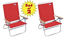 Rio 4 Position Easy-In/ Easy-Out Beach Chairs Set of 2 - Sit Higher Off the Sand #602-Red